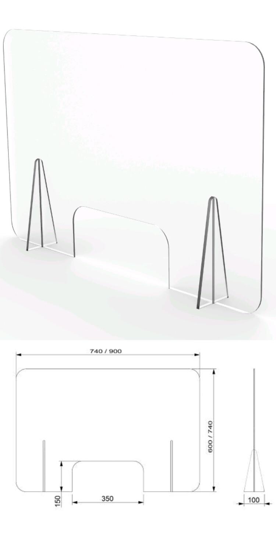 Mampara mostrador con ventanilla 90x74cm. Mampara móvil desmontable fabricada en PET de 3mm.