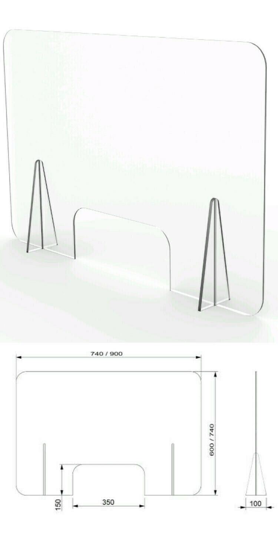 Mampara mostrador con ventanilla 74x60cm. Mampara móvil desmontable fabricada en PET de 3mm.