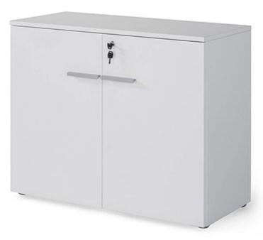 Armario bajo con puertas y cerradura (93cm ancho x 77,6cm altura x 42,5cm fondo) color blanco u olmo