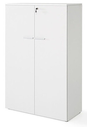 Armario medio con puertas y cerradura (93cm ancho x 141,6cm altura x 42,5cm fondo) color blanco u olmo