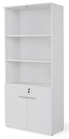Armario alto con puertas bajas y cerradura (93cm ancho x 208,8cm altura x 42,5cm fondo) color blanco u olmo