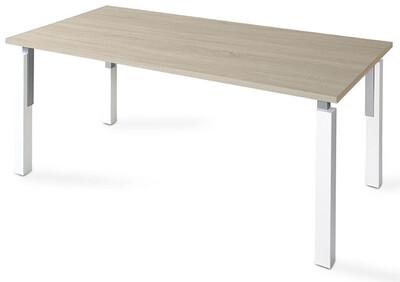 Mesa NEK de 140x80cm sobre color blanco u olmo y patas combinado blanco/gris aluminio