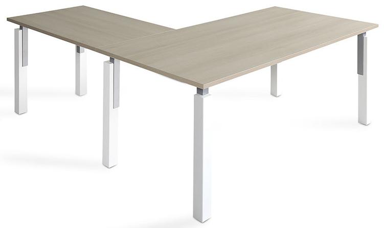 Mesa NEK de 140x80cm con ala de 100x60cm sobre color olmo y patas blanco/gris.