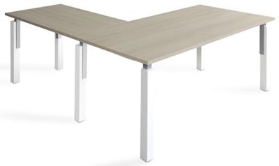 Mesa NEK de 160x80cm con ala de 100x60cm sobre color blanco u olmo y patas combinado blanco/gris aluminio