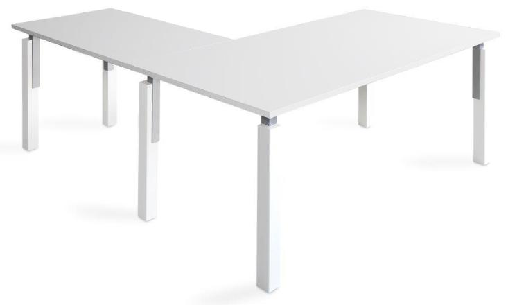 Mesa NEK de 140x80cm con ala de 100x60cm sobre color blanco u olmo y patas combinado blanco/gris aluminio