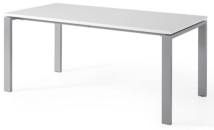Mesa POR de 160x80cm sobre color blanco y patas grises.