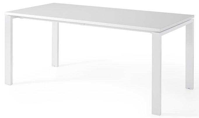 Mesa POR de 160x80cm sobre color blanco y patas blancas.