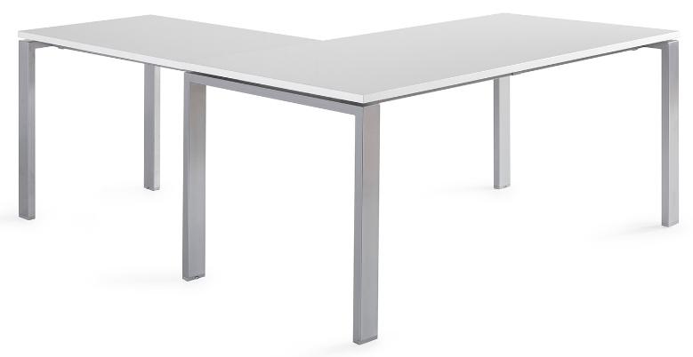 Mesa POR de 140x80cm con ala de 100x60cm sobre color blanco y patas grises.