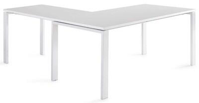Mesa POR de 160x80cm con ala de 100x60cm sobre color blanco u olmo y patas color blanco o gris aluminio