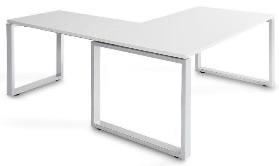 Mesa SKA de 140x80cm con ala de 100x60cm sobre color blanco u olmo y patas color blanco o gris aluminio