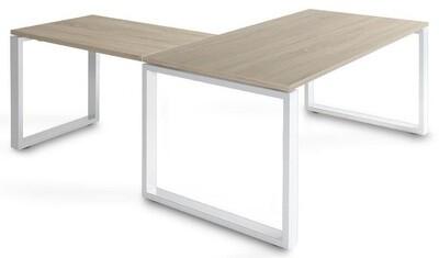Mesa SKA de 160x80cm con ala de 100x60cm sobre color blanco u olmo y patas color blanco o gris aluminio