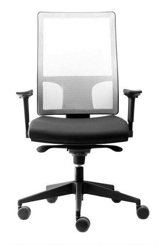 Silla Qlick. Mecanismo sincro y translación del asiento. Respaldo alto malla. Asiento tapizado Radio. Brazos regulables en altura.