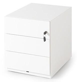 Cajonera metálica de 3 cajones con cerradura y ruedas (42cm ancho x 49,5cm altura x 59,5cm fondo) color blanco o gris claro.