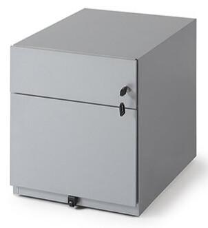 Cajonera metálica de 1 cajón + 1 archivador con cerradura y ruedas (42cm ancho x 49,5cm altura x 59,5cm fondo) color blanco o gris claro.
