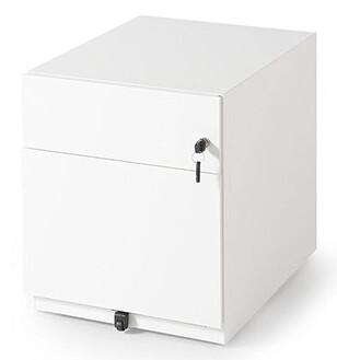 Cajonera metálica de 1 cajón + 1 archivador con cerradura. Blanco.