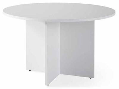 Mesa reuniones redonda COR de 110cm de diámetro sobre y patas color blanco u olmo.