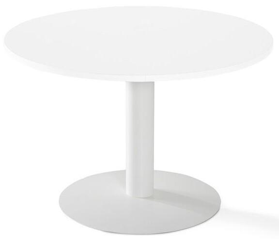 Mesa reuniones redonda CAR de 110cm de diámetro color blanco y pata blanca.