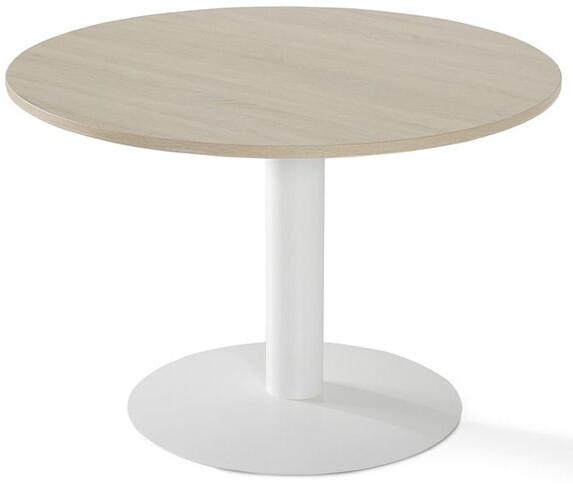 Mesa reuniones redonda CAR de 110cm de diámetro sobre color blanco u olmo y pata peana color blanco o gris aluminio.
