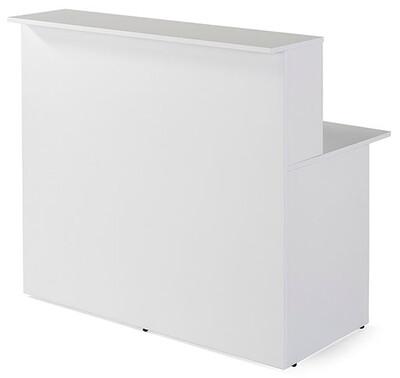 Mostrador recto modelo BAS con mesa y repisa (120cm ancho x 115cm altura repisa x 74cm fondo) color blanco.