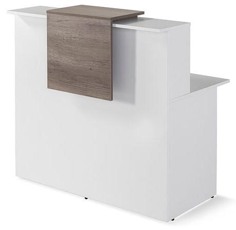Mostrador recto modelo BAS con mesa y repisa con aplique decorativo color nebraska (120cm ancho x 115cm altura repisa x 74cm fondo) color blanco.