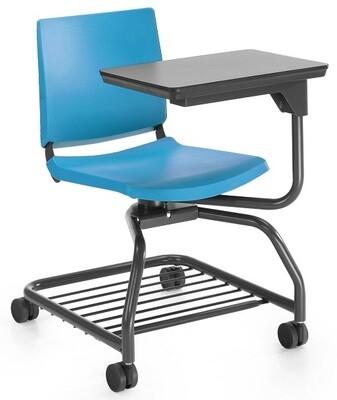 Silla Atenea Form estructura color grafito, carcasa polipropileno varios colores. Con mesa fenólica 360º color blanco o negro.