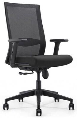Silla Nova. Respaldo malla negra y asiento tapizado negro.