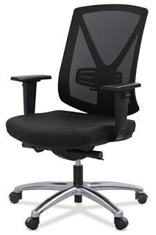 Silla Miró. Respaldo malla negra y asiento tapizado negro.