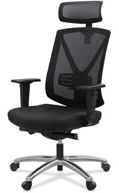 Silla Miró con cabezal. Respaldo y cabezal malla negra y asiento tapizado negro.