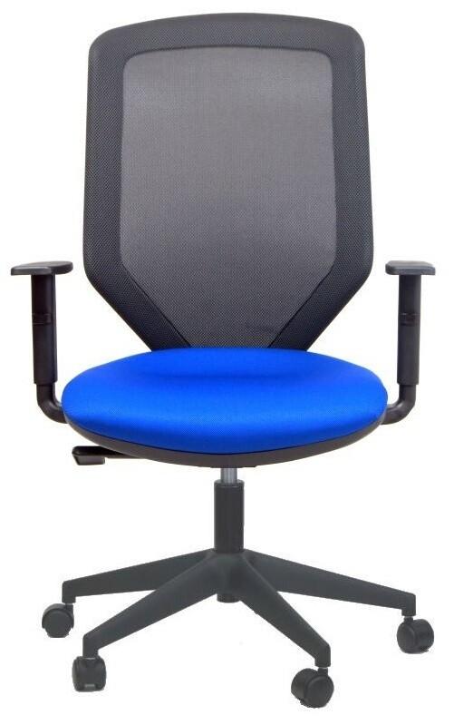 Silla Sare. Mecanismo sincro. Respaldo alto malla. Asiento tapizado Radio. Brazos regulables en altura. Regulación profundidad del asiento opcional.
