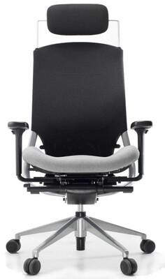 Silla Ergotango. Mecanismo sincro y regulación profundidad del asiento. Respaldo alto malla negra. Asiento tapizado Goya color a escoger. Cabezal en malla negra. Brazos 4GL. Base de aluminio pulido.