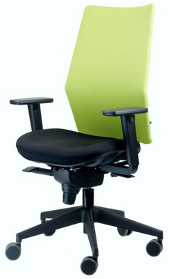 Silla Xana de Biplax. Respaldo alto malla y asiento tapizado Radio.