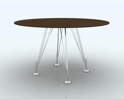 Mesa reuniones redonda HEOS medidas 100, 120, 130, 140 o 160cm, sobre color a escoger y patas metálicas color blanco o negro.