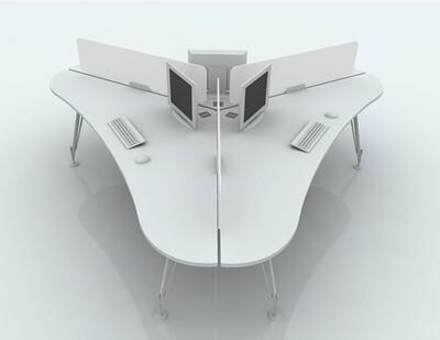 Mesa HEOS 3 puestos. Medida total 265x265cm, sobre color a escoger y patas metálicas color blanco o negro. Separadores opcionales.