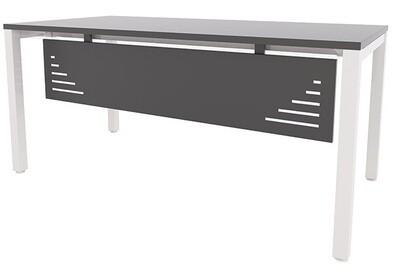 Mesa ENIX de 160x80cm (largo de 120 a 200cm, ancho 60 y 80cm), sobre color a escoger y patas blancas, gris plata o negras. Faldón metálico opcional.