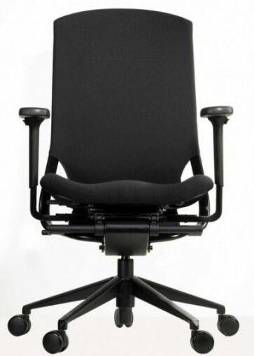Silla Ergotango de Biplax. Respaldo alto malla negra y asiento tapizado Goya.