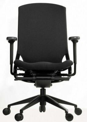 Silla Ergotango. Mecanismo sincro y regulación profundidad del asiento. Respaldo alto malla negra. Asiento tapizado Goya. Brazos 2GL. Base negra.