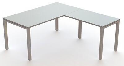 Mesa ENIX de 160x80cm (largo de 120 a 200cm, ancho 60 y 80cm) con ala de 80, 100 o 120cm x ancho 60cm. Faldón metálico opcional.