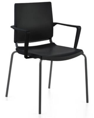 Silla Atenea de polipropileno negro, con brazos y estructura negra.