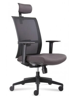 Silla Verona cabezal. Respaldo en malla negra y asiento tapizado.
