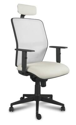 Silla Kerry Cabezal Syncro. Respaldo en malla y asiento tapizado.