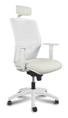 Silla Kerry White Cabezal Syncro. Respaldo en malla y asiento tapizado.