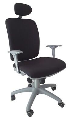 Silla Signo Silver Cabezal Sincro. Respaldo y asiento tapizado.
