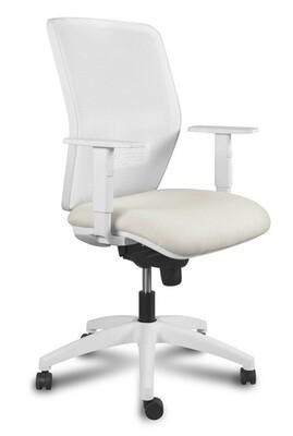 Silla Kerry White Syncro. Respaldo en malla y asiento tapizado.