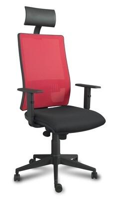 Silla Xena Cabezal Syncro. Respaldo en malla y asiento tapizado.