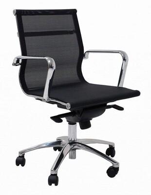 Sillón JR Malla Bajo color negro. Respaldo y asiento en malla.