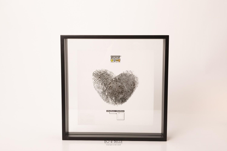 Glaskader in zwart hout met zwevend foto effect 25x25