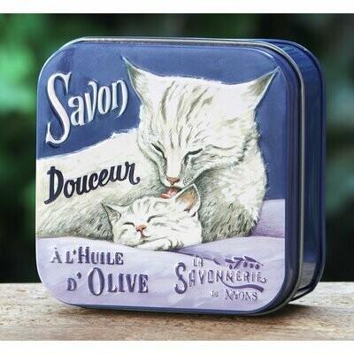 blikje MARSEILLE ZEEP WISLA VLAANDEREN moederpoes met kitten katten