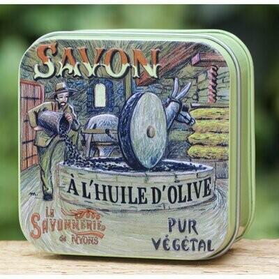 blikje MARSEILLE ZEEP WISLA VLAANDEREN moulin pletten van olijven met ezel