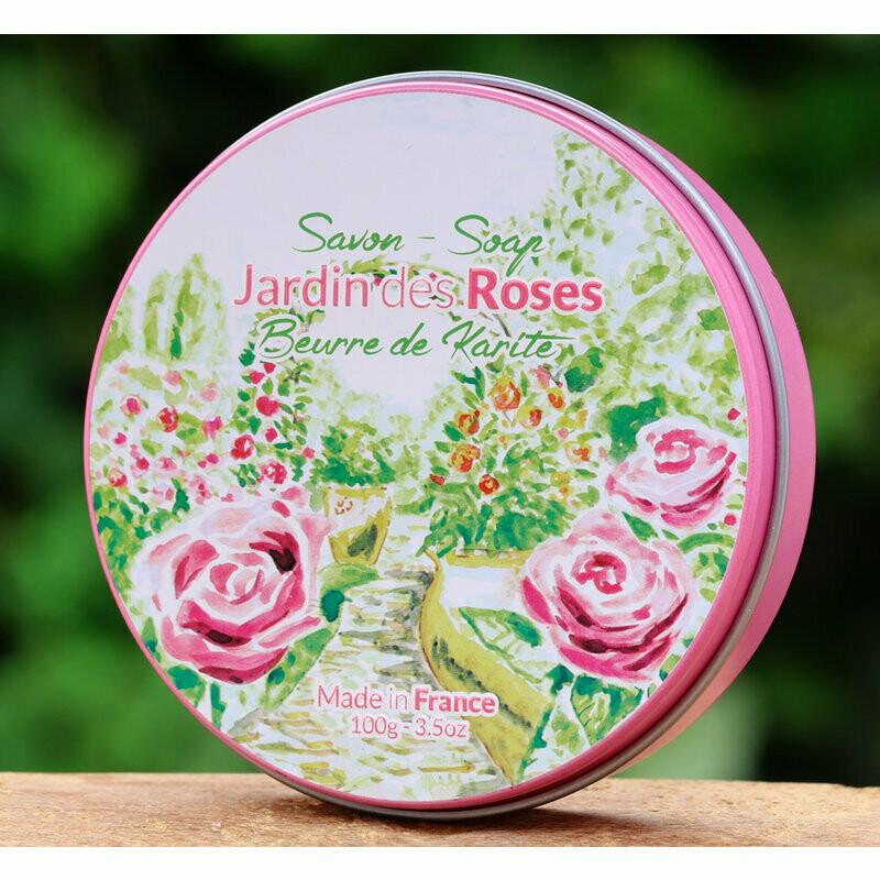 Een blikje met een ronde zeep in de geur rozen WISLA VLAANDEREN