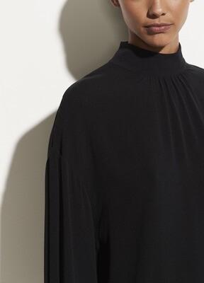 VINCE. Shirred Mock Neck Bluse